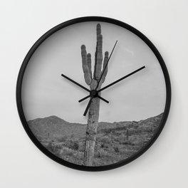 Saguaro B&W // Desert Landscape Photography Arizona Cactus Black and White Vintage Southwestern Vibe Wall Clock