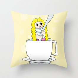 Biondina at coffee time Throw Pillow