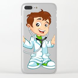 Cute little male doctor smiling Clear iPhone Case