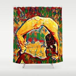 2057s-JPC Flexible Woman Back Bend Yoga Square Golden Tones Shower Curtain