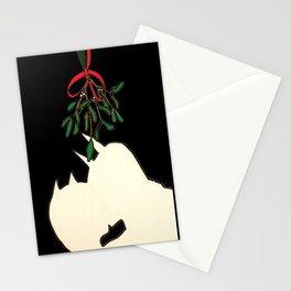 mistletoe kiss Stationery Cards