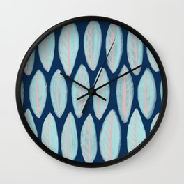 Blue Leaves Navy Background Wall Clock