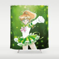 sailor jupiter Shower Curtains featuring Eternal Sailor Jupiter by Yue Graphic Design