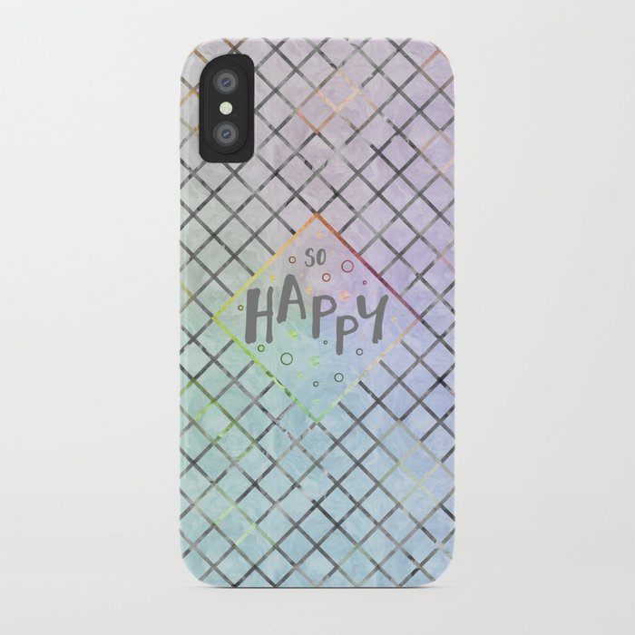 Text Art SO HAPPY | rainbow-colored iPhone Case