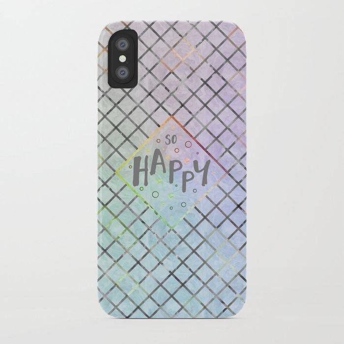 Text Art SO HAPPY | rainbow-colored iPhone Case