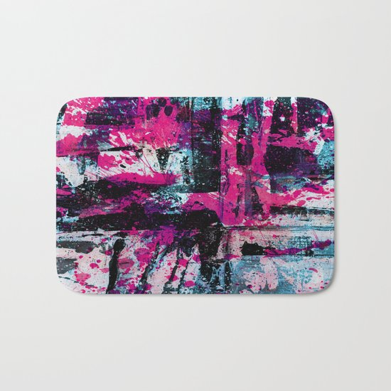 Express Yourself II - Abstract pink and blue artwork Bath Mat
