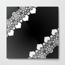 Retro . White lace on a black background . Metal Print