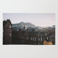 scotland Area & Throw Rugs featuring Edinburgh, Scotland by norakathleen