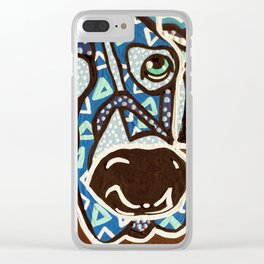 Bobby Blue Eyes Designer Dog Series Puppy Pet Weimaraner Weimer Pointer Ghost Ridgeback Vizsla Hound Clear iPhone Case