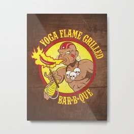 Yoga Flame Grilled BBQ Metal Print