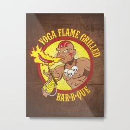 Yoga Flame Grilled BBQ Metal Print