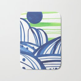 Lime and blue abstract landscape Bath Mat