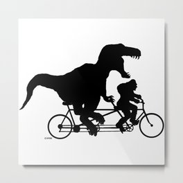 Gone Squatchin cycling with T-rex Metal Print