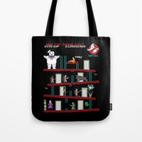 donkey Tote Bags featuring Donkey Puft by Mike Handy Art