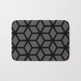 Geometric Line Lines Diamond Shape Tribal Ethnic Pattern Simple Simplistic Minimal Black and White Bath Mat