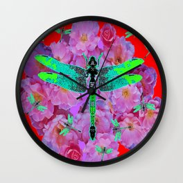 EMERALD DRAGONFLIES  PINK ROSES RED COLOR Wall Clock