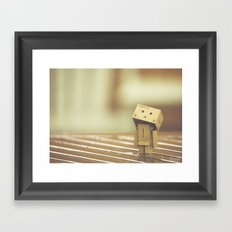 Danbo in the rain Framed Art Print