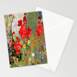 Red Geraniums in Spring Garden Landscape Painting Stationery Cards