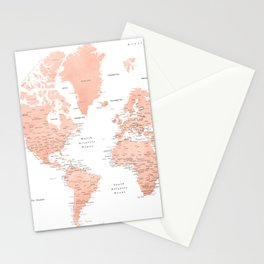 "Rose gold world map with cities, ""Hadi"" Stationery Cards"