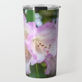 White rhododendron flowers with a purple fringe Travel Mug