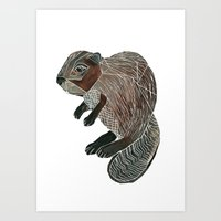beaver Art Prints featuring Beaver by Fitz Farm