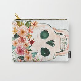 PRETTY OUTLAW Flower Crown Skull Carry-All Pouch