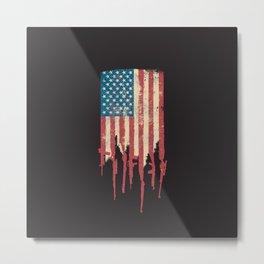 Distressed United States of America USA Flag Grunge Guns Metal Print