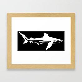Tiger Shark Silhouette Framed Art Print