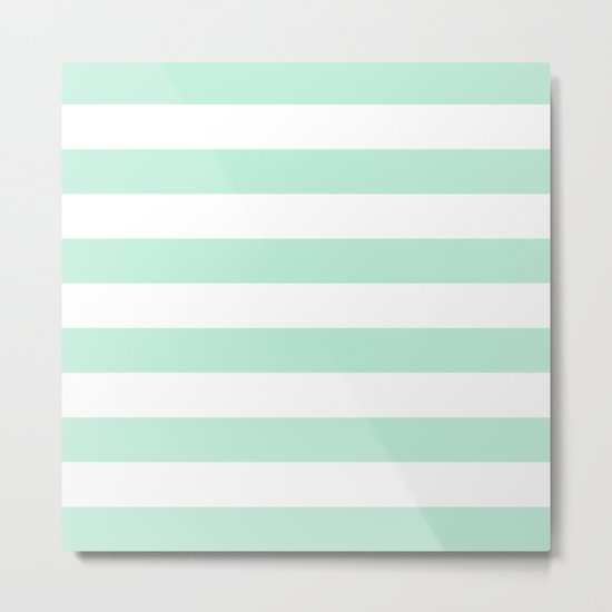 Stripe Horizontal Mint Green Metal Print