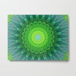 Glowing Green Ribbon Kaleidoscope Metal Print