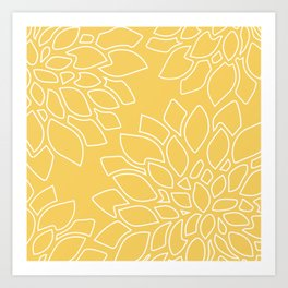 DAHLIAS ON YELLOW Art Print