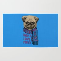 pugs Area & Throw Rugs featuring Must Love Pugs by micklyn