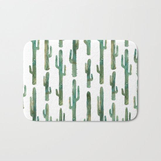 Green Cactus Bath Mat