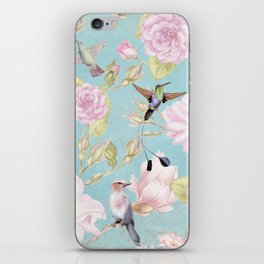 Pastel Teal Vintage Roses and Hummingbird Pattern iPhone Skin