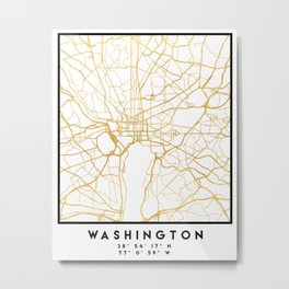 WASHINGTON D.C. DISTRICT OF COLUMBIA CITY STREET MAP ART Metal Print