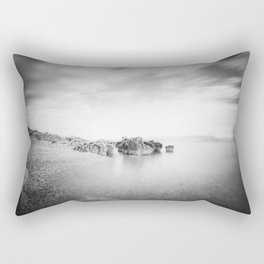 B&W long exposure of a beach in Rabac, Croatia Rectangular Pillow