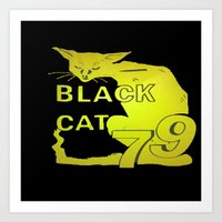 duvet cover Art Prints featuring BLACK CAT DUVET COVER by aztosaha