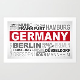 Germany top and most famous city names word cloud illustration Art Print