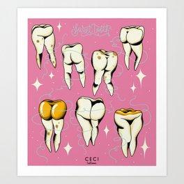 Sweet tooth, sexy teeth tattoo flash Art Print