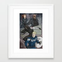 winter soldier Framed Art Prints featuring Winter Soldier by DeanDraws