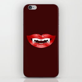 Vampire Mouth Illustration With Red Lips And Fangs iPhone Skin
