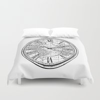 wall clock Duvet Covers featuring Clock by Mr and Mrs Quirynen
