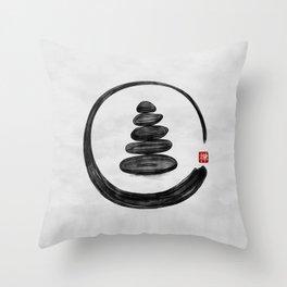 Zen Enso Circle and Zen stones - Watercolor Throw Pillow