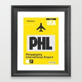 PHL Philadelphia airport code yellow Framed Art Print