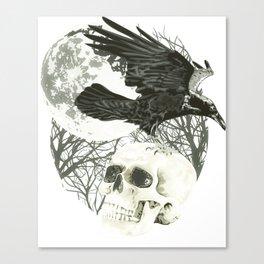 Raven on Skull Canvas Print
