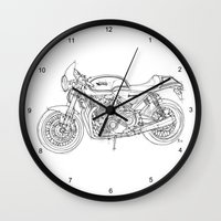 cafe racer Wall Clocks featuring NORTON COMMANDO 961 CAFE RACER 2011 by Larsson Stevensem