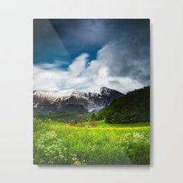 Spring flower field under mountain Krn Metal Print