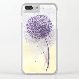 Purple dandelion in watercolor Clear iPhone Case