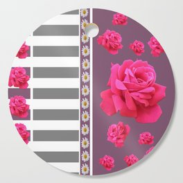 MODERN  PINK ROSES ON PUCE COLOR ART Cutting Board