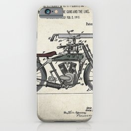 1914 WWI Perry Motorcycle Machine Gun Patent iPhone Case